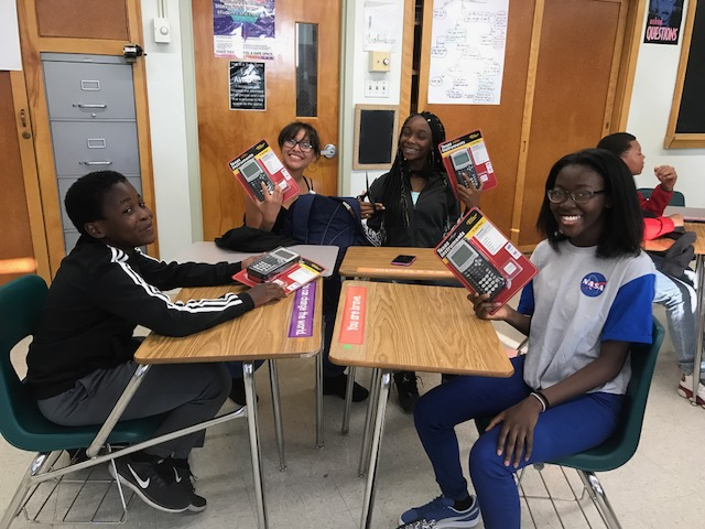 Excited Freshmen Receiving Their Calculators